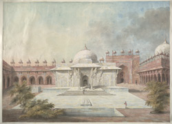 View of the dargah of Shaikh Salim Chishti and the tomb of Islam Khan beside it in the courtyard of the Great Mosque at Fathpur Sikri.
